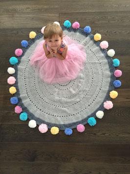 Tapis pom pom Gelato gris et pastel multicolores Mooi Baby