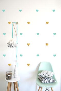 Stickers muraux coeur vert menthe et or Pom le bonhomme