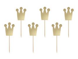 6 piques gateaux couronnes dorées