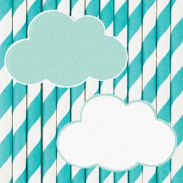 12 pailles rayées avec nuages my little day