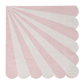 20 grandes serviettes rayures rose clair et blanc Meri Meri