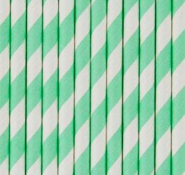 25 pailles rayées vert pastel et blanc