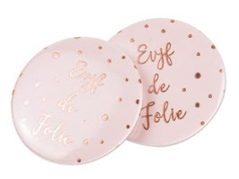 "8 Badges Rose Pastel ""Evjf de Folie"" Rose Gold"