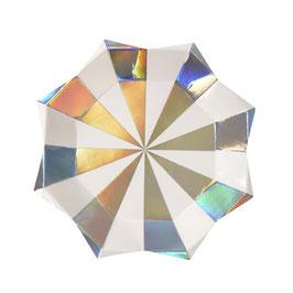 8 petites assiettes rayées blanc et argent reflets holographiques