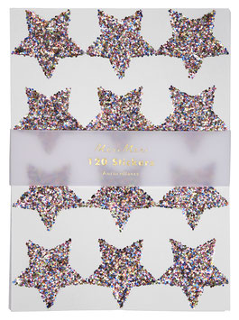 120 stickers étoiles paillettes argent multicolores meri meri