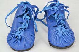 chaussures fille cuir lacées coloris bleu