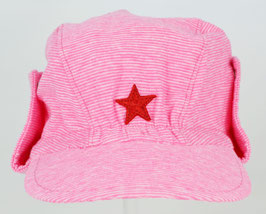 casquette fond rose vif rayures blanches avec bords ajustables Kik kid