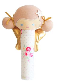 Hochet poupée tissu fleurs couettes roses ailes dorées Alimrose