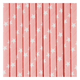 25 pailles en papier fond rose pastel étoiles blanches