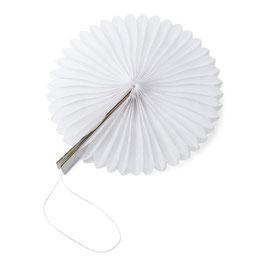 8 petits éventails papier alvéolés blancs 10cms