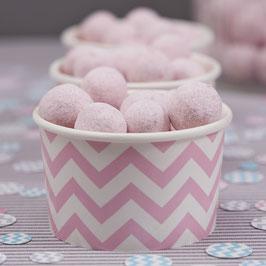8 Petits pots pastels chevron rose clair