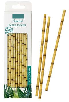 30 Pailles en papier imprimé bambou beige