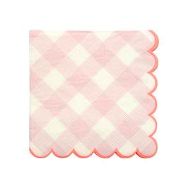 20 Petites serviettes vichy rose bord corail meri meri