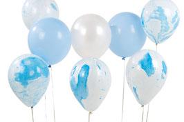 Pack de 12 ballons bleus et blancs, bleus et blancs métallisés