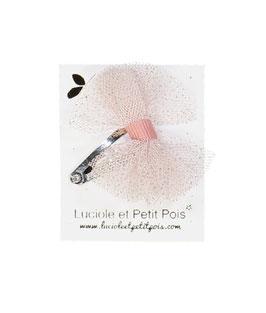 Mini barrette clip tulle rose pailllettes argent