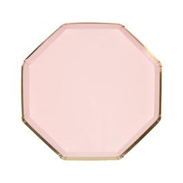 8 petites assiettes octogonales rose pastel liseré doré 20 cms meri meri
