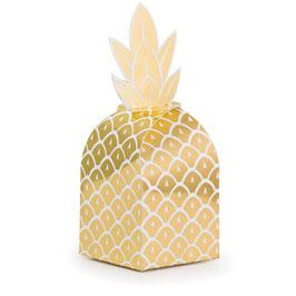 8 boites à cadeaux invités ananas dorés