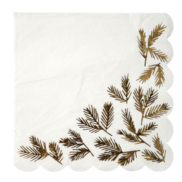 16 grandes serviettes avec feuillage doré Meri Meri