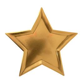 8 assiettes dorées en forme d'étoile Meri Meri