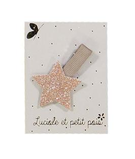 Petite Barrette pince beige étoile rose dorée
