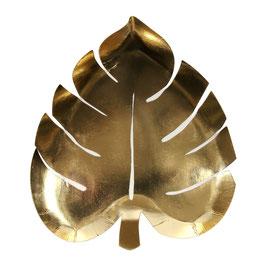 8 assiettes feuilles de palme dorées