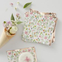 16 petites serviettes fleurs avec bordure rose gold