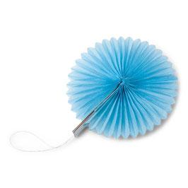 8 petits éventails papier alvéolés bleu ciel 10cms