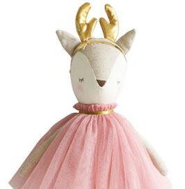 Poupée Biche Angelica robe vieux rose bois dorés Alimrose