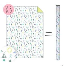 3 feuilles papier cadeau imprimé anniversaire indien meri meri 50cmsX70cms