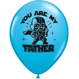 """4 ballons bleus Star wars avec dessin et écriture """"You are my father"""""""