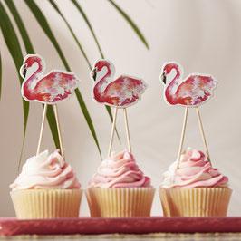 8 piques flamant rose pour decoration fête