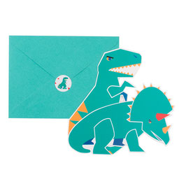 8 Invitations anniversaire Dinosaures avec enveloppes my little day