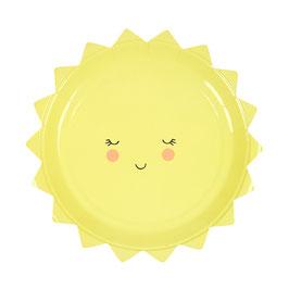 12 petites assiettes soleil visage Meri Meri