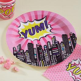 """8 Assiettes """" YUM"""" anniversaire super héros fille"""
