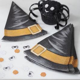 12 serviettes en forme de chapeau de sorcière pour décoration fête Halloween
