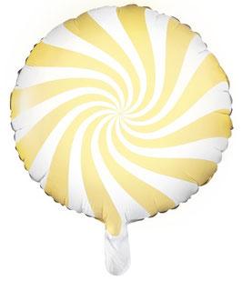 Ballon Sucre d'Orge Rond Jaune en Aluminium