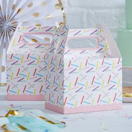 5 Boites motifs plumetis Pastels