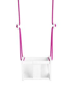 Balançoire bébé siège coloris blanc,habillage cuir blancet corde fushia