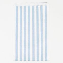 10 pochettes rayées bleu ciel et blanc pour cadeaux invités