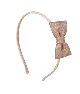 Serre tête Liberty rose Capel avec noeud paillettes rose doré