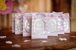 10 pochettes cadeaux rayées roses écriture Baby Shower dorée