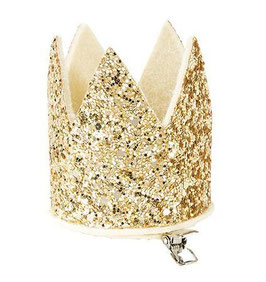 Barrette couronne paillettes dorées