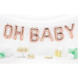 """Ballon métallique rose gold écriture """"Oh Baby"""""""