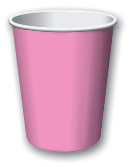 8 gobelets en carton rose bonbon