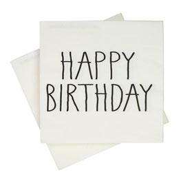 20 grandes serviettes blanches avec écriture Happy Birthday noir