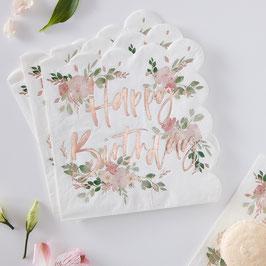 16 Grandes Serviettes Fleurs Happy Birthday Rose gold