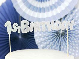 Cake Topper 1st Birthday Argent