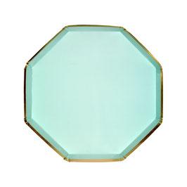 8 petites assiettes octogonales vert menthe liseré doré 20 cms meri meri