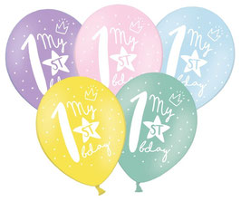 "6 Ballons Pastels Assortis ""my 1st Birthday"""