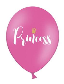 6 ballons roses écriture princess, couronne dorée